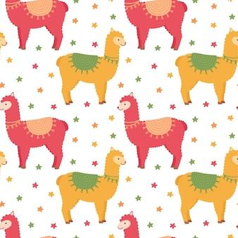 Naadloos patroon met lama's en sterren, vectorillustratie