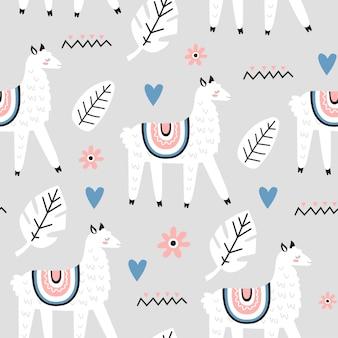 Naadloos patroon met lama