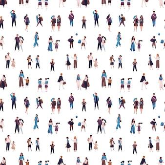 Naadloos patroon met leerlingen, schoolkinderen met ouders en studenten die naar school, hogeschool of universiteit gaan