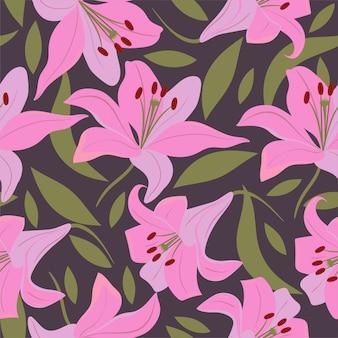 Naadloos patroon met lelies en bladeren.