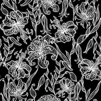 Naadloos patroon met lelies. zwart-wit. graphics.