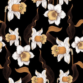Naadloos patroon met lentebloemen, bloemenornament op zwarte achtergrond.