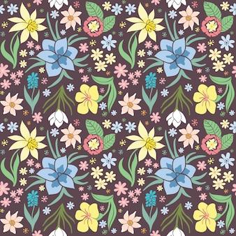Naadloos patroon met lentebloemen.