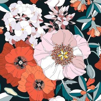 Naadloos patroon met lentebloemen