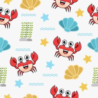 Naadloos patroon met leuk krabkarakter