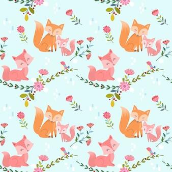 Naadloos patroon met leuk vossen en bloemen vectorontwerp