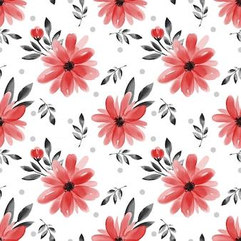 Naadloos patroon met leuke bloem op witte achtergrond.