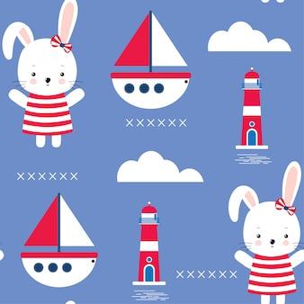 Naadloos patroon met leuke bunny en mariene thema kinderachtige illustratie
