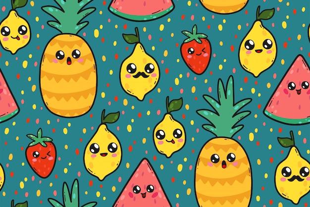 Naadloos patroon met leuke citroenen, watermeloenen, en aardbeien in kawaiistijl van japan.
