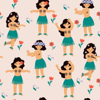 Naadloos patroon met leuke hawaiiaanse meisjes.