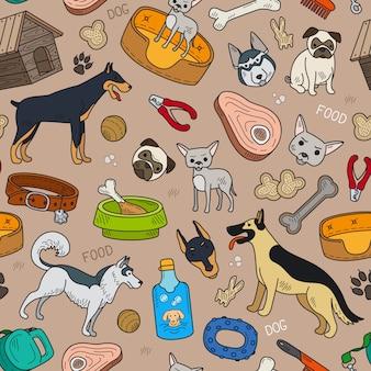 Naadloos patroon met leuke hond en huisdierentoebehoren