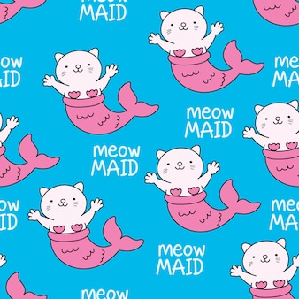 Naadloos patroon met leuke kattenbeeldverhaal