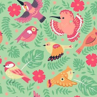 Naadloos patroon met leuke vogels