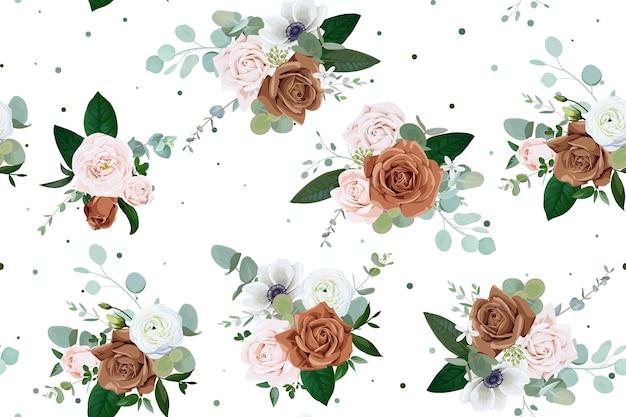 Naadloos patroon met lichtroze en bruine rozen