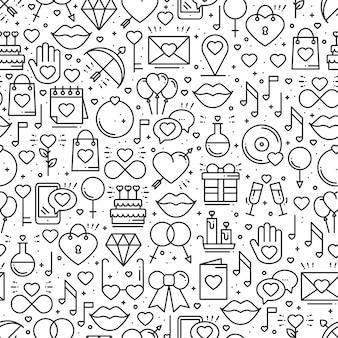 Naadloos patroon met liefdesymbolen.