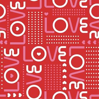 Naadloos patroon met liefdewoorden, en miniharten met lijn van cirkelstippen i