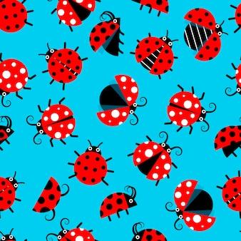 Naadloos patroon met lieveheersbeestjes
