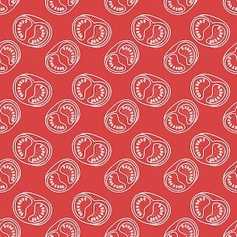 Naadloos patroon met lineaire tomaten kleurrijke eindeloze plantaardige achtergrond