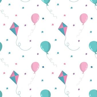 Naadloos patroon met luchtballonnen, sterren en vlieger