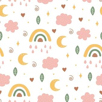 Naadloos patroon met maan, wolk en regenboog aan de hemel.