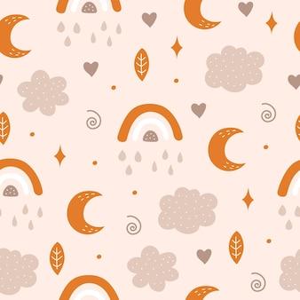 Naadloos patroon met maan, wolk, regenboog