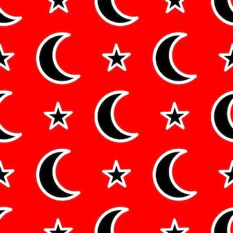Naadloos patroon met maand en sterren