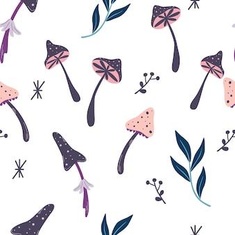 Naadloos patroon met magische paddestoelen. gekke psychedelische achtergrond. ingrediënten voor magische drankjes. voor stof, textiel, behang, inpakpapier, omslag. halloween-decor. magisch bos. vector