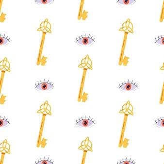 Naadloos patroon met magische sleutel en boze oog