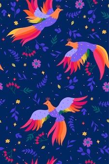Naadloos patroon met magische vogels