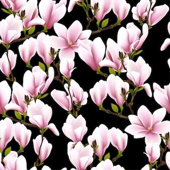 Naadloos patroon met magnoliabloem