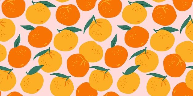 Naadloos patroon met mandarijnen en sinaasappelen