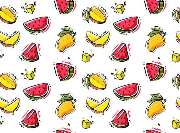 Naadloos patroon met mango en watermeloen.