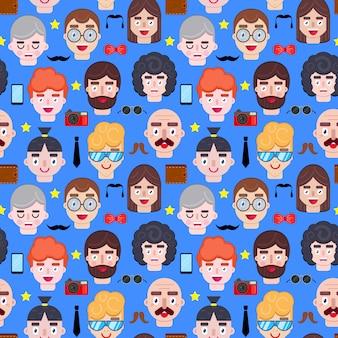 Naadloos patroon met mannengezichten