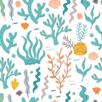 Naadloos patroon met marien zeewier