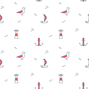 Naadloos patroon met mariene elementen. nautische illustraties van een zeemeeuw, zeilboot, vuurtoren en anker op een witte achtergrond. vector illustratie
