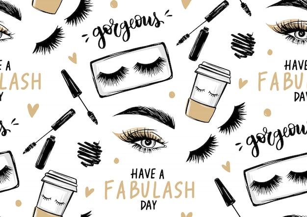 Naadloos patroon met mascara, oogschaduw, ogen, wenkbrauwen en lange zwarte wimpers, papieren koffiekopje en penseelstreek