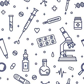 Naadloos patroon met medische laboratoriumapparatuur