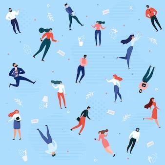 Naadloos patroon met mensen uit het bedrijfsleven lopen