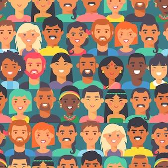 Naadloos patroon met mensen van verschillende rassen en nationaliteiten