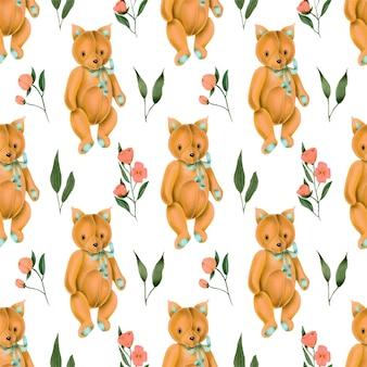 Naadloos patroon met met de hand geschilderde speelgoedvos en roze bloemen