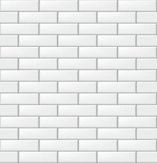 Naadloos patroon met moderne rechthoekige baksteen witte tegels. realistische horizontale textuur. illustratie.