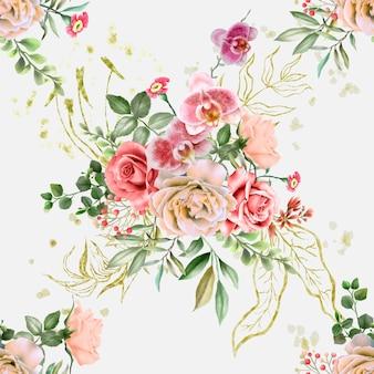 Naadloos patroon met mooi en elegant bloemenwaterverfontwerp