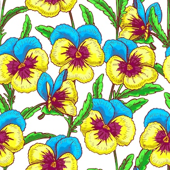 Naadloos patroon met mooie blauwe en gele viooltjes. handgetekende illustratie
