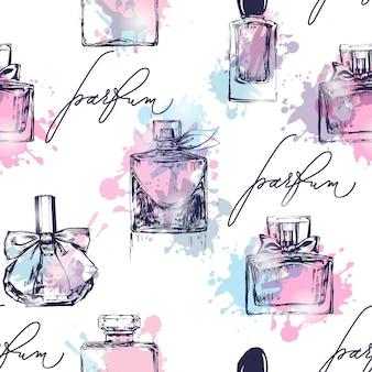 Naadloos patroon met mooie flessen parfum. dames parfum. vector aquarel.