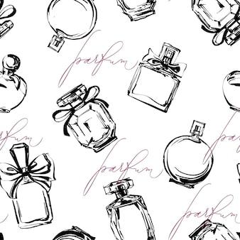 Naadloos patroon met mooie flessen parfum. dames parfum. vector.