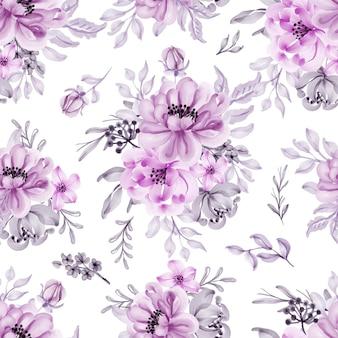 Naadloos patroon met mooie lila bloemen en bladeren