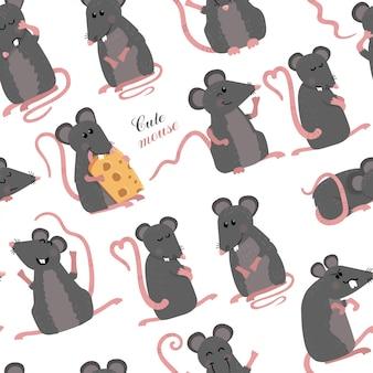 Naadloos patroon met muizen