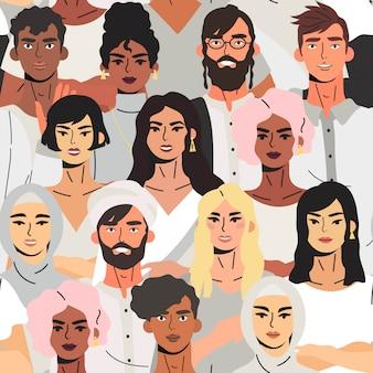 Naadloos patroon met multiculturele groep jongeren.