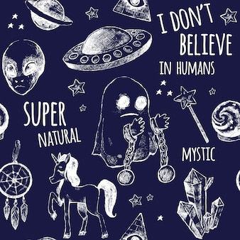 Naadloos patroon met mystieke motieven.