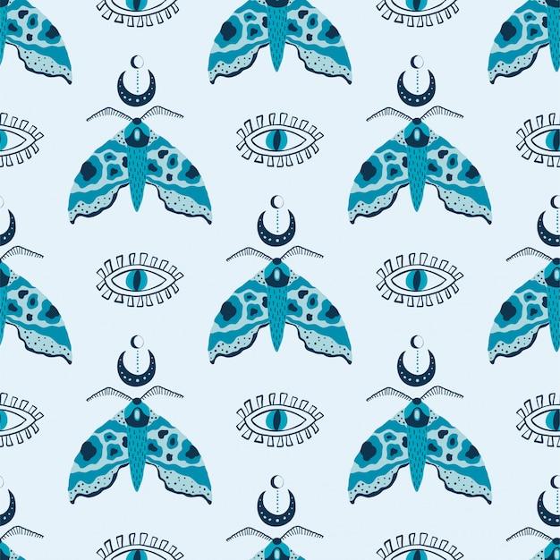 Naadloos patroon met mystieke motten en ogen op wit